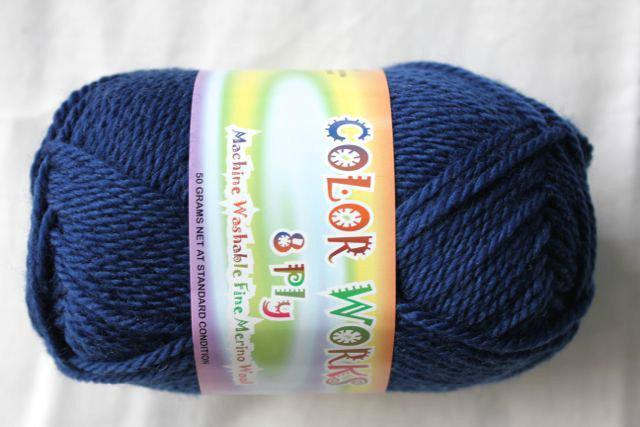 Colorworks 8ply fine merino wool - navy blue 407