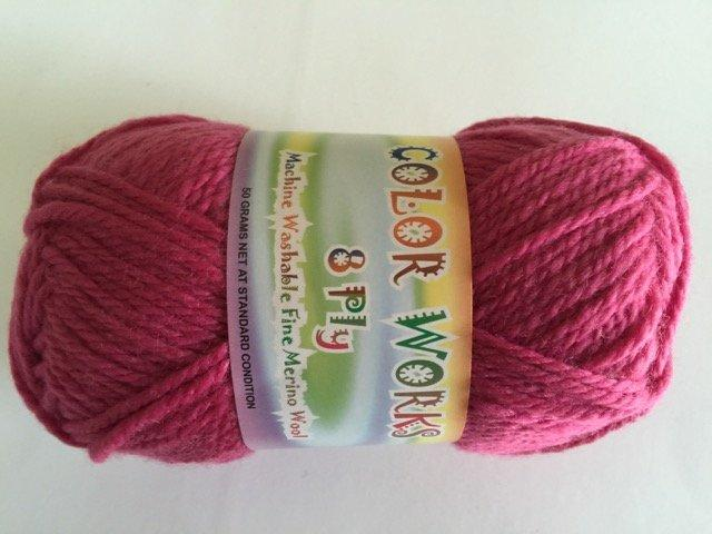 Colorworks 8ply fine merino wool - raspberry 415