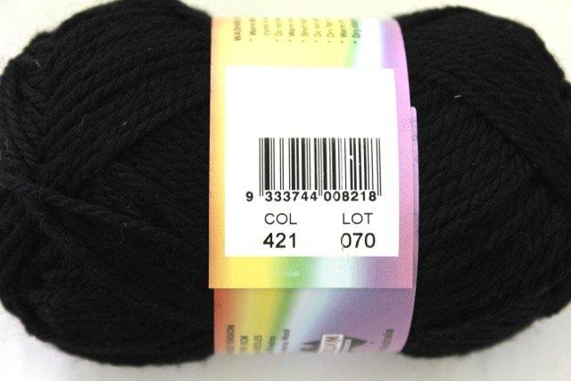colorworks 8ply fine merino wool - black 421