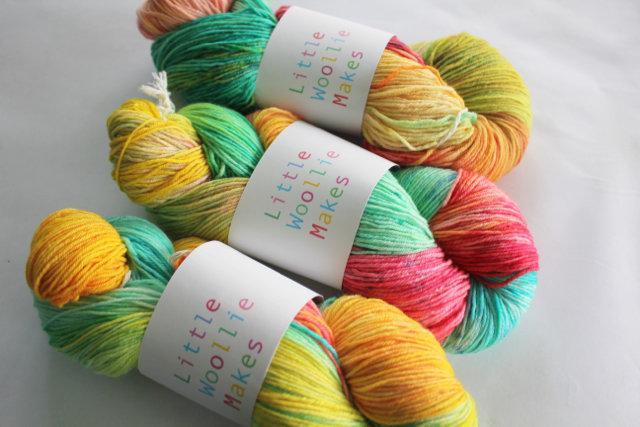 Little Woollie Makes Handpainted 4ply merino - Parrot
