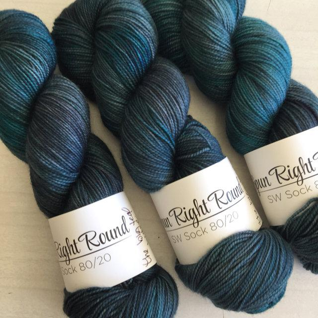 Spun Right Round SW Sock 80/20 - Big Teal Wave
